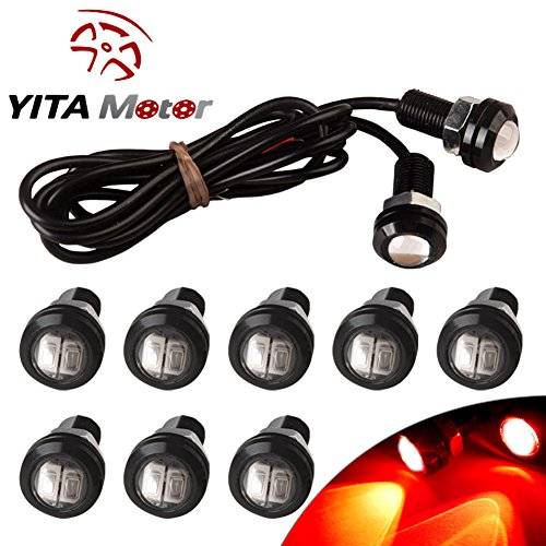 YITAMOTOR 10 X 5730 9W 18mm Eagle Eye LED Car Motor DRL Backup Red Lights bulbs 12V