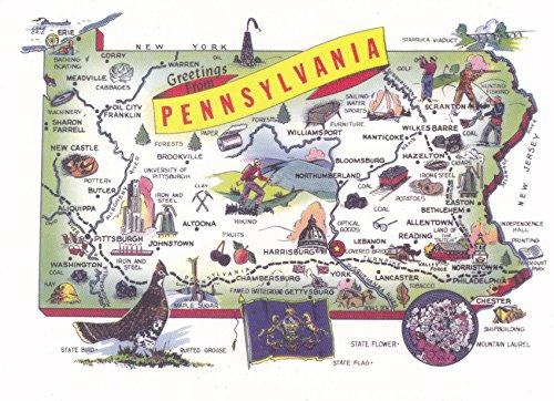 STATES2PEN - PA-298 GREETINGS FROM PENNSYLVANIA, The Keystone State. 1979 Population: 11,864,751; Capital: Harrisburg; State Flower: Mountain Laurel - A U.S. State POSTCARD .. from HibiscusExpress