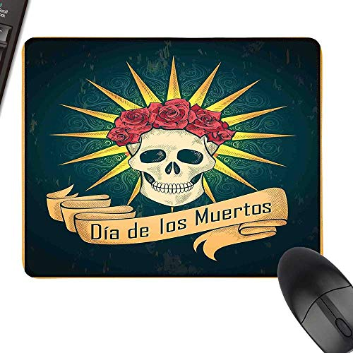 Day of The Dead Rectangle Mouse Pads Sugar Skull with Roses and Dia de Los Muertos Print Grunge Style Artwork Laptop Desk Mat, Waterproof Desk Writing Pad 35.4