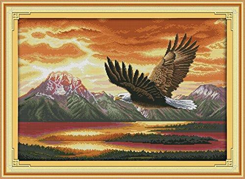 Joy Sunday Cross Stitch kits, The flying eagle (2) , 14CT Stamped, 61cm×44cm or 23.79