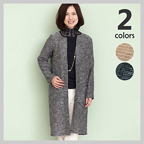 9f854e3bfb7eb フラックス ストレッチ ツイード ノーカラージャケット ロングジャケットコート 長袖 羽織り (シニア ハイミセス 女性 婦人