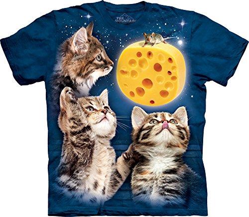 The Mountain Men's Three Kitten Cheese Moon T-Shirt, Blue, Small
