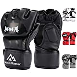 Brace Master Boxing Gloves MMA Gloves for UFC Training Men and Women Leather More Padding Punching Bag Gloves for The Kickboxing, Sparring, Muay Thai Heavy Bag (Small, Black)