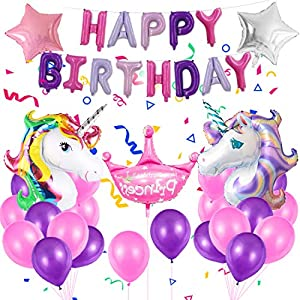 Énorme Anniversaire Unicorn Party Decorations Fournitures, Unicorn Foil Licorne Balloon, Joyeux Anniversaire Kit Set…