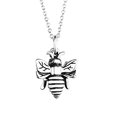 925 Oxidized Sterling Silver Queen Honey Bee Little Bumblebee Pendant Necklace 0WqFwhPF