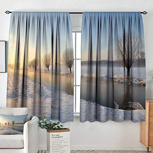 """Elliot Dorothy Blackout Curtains Winter,Snowy River Landscape Barren and Frosted Trees Dutch Netherlands Europe Photograph,Rod Pocket Drapes Thermal Insulated Panels Home décor 55""""x45"""""""