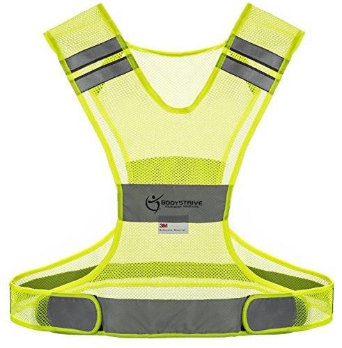 Reflective Vest for Running Walking Cycling or Biking - Best High Visibility Safety Vests Made of REAL 3M Scotchlite Material - Distinct Sizes - Modern Embossed Belt
