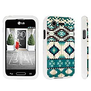 DuroCase ? LG L34C Optimus Fuel / LG Optimus Zone 2 VS415PP Hard Case White - (Mint Wood Aztec)