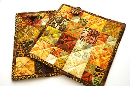 Fall Pot - Batik Fabric Quilted Pot Holders Set in Fall Color Fabric