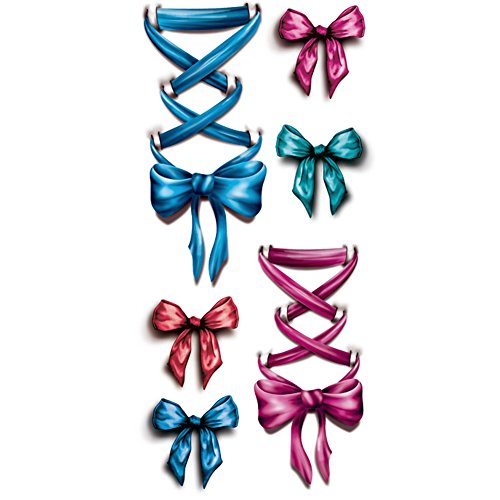 TAFLY Temporary Tattooing 3D Legs Pink Ribbon Bow Fake Tattoo Waterproof Sticker 5 Sheets -