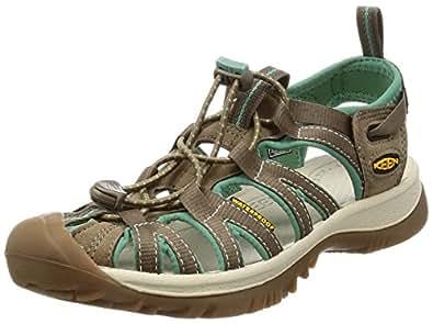KEEN Australia Women's Whisper Trekking Sandal, Shitake/Malachite, 8.5 US