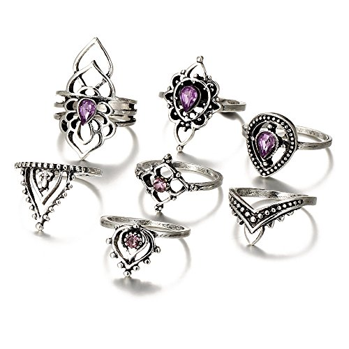 Naladoo 7pcs/Set Women Bohemian Vintage Silver Stack Rings Above Knuckle Blue Rings Set