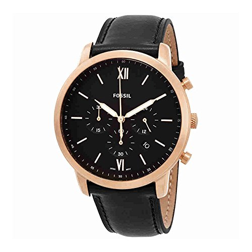 Case Gold Tone Band - Fossil Men's 'Neutra Chrono' Quartz Stainless Steel and Leather Casual Watch, Color:Black (Model: FS5381)