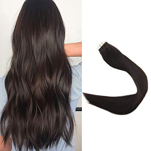 Full Shine 12 Inch Tape In Hair Extensions Short Seamless Remy Pu Seamless Glue On Hair 30G 20Pcs Color #2 Darkest Brow Tape In Human Hair Brazilian Remi Pu Hair Silky Straight Thick Ends Tape Hair