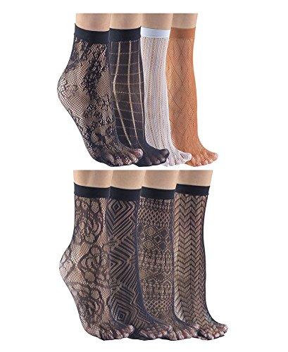 8 PAIRS Felicity Sheer Ankle Socks, Fishnet Socks, Sheer Socks, Nylon Socks (Assorted C & F (8 (Sheer Dress Socks)