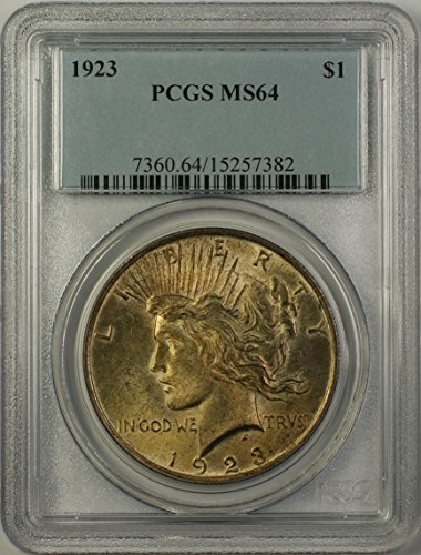 1923 Peace Silver Dollar Coin (ABR15-I) Toned $1 MS-64 PCGS