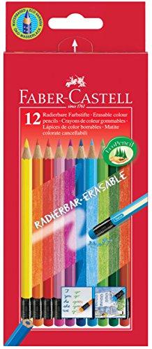 Faber-Castell 116612 Radierbare Buntstifte mit Gummitip, 12er Kartonetui