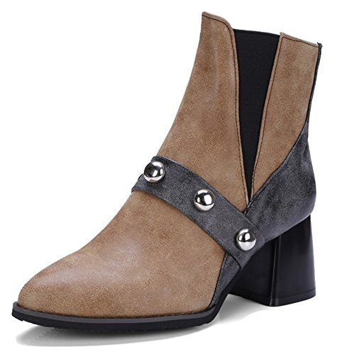Aisun Womens Trendy Studded Pointed Toe Booties Pull On Chunky Mid Heel Chelsea Ankle Boots With Studs Brown