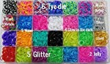 10,000pc Quality Rainbow Rubber Bands Refill Set by Daskid - Includes: Loom Organizer + over 9000 Premium Loom Bands in 28 Different Colors, + 500 S Clips, + 18 Charms and 150 Beads.
