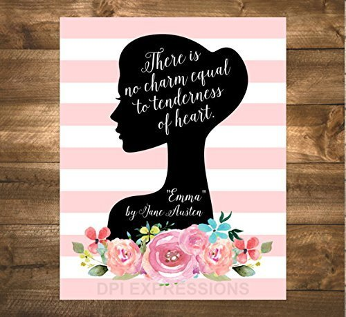Jane Austen Quote Art Print, There Is No Charm Equal To Tendernness Of Heart, Inspirational Quote Print, Silhouette Wall Art, Unframed Print, 8