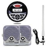 Herdio Waterproof Marine Radio Stereo Digital Media Receiver MP3 /USB/AUX/RCA+4'' Marine/Golf Cart/Truck Surface Mount Box Speaker Outdoor+FM AM Antenna