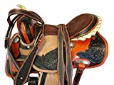 Brown Leather Tooled Trail Horse Racing Pleasure Western Barrel Saddle 15 16 17