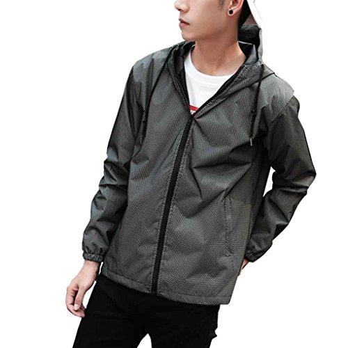 - Firiodr Men Reflective Zipper Jacket Casual Hip Hop Windbreaker Sporting Hooded Fluorescent Coat