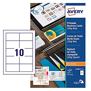 Avery c32011 25 printable single sided business cards 10 cards per avery c32011 25 printable single sided business cards 10 cards per a4 sheet reheart Choice Image