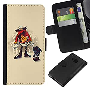 A-type (Divertido erizo Robotni) Colorida Impresión Funda Cuero Monedero Caja Bolsa Cubierta Caja Piel Card Slots Para HTC One M7