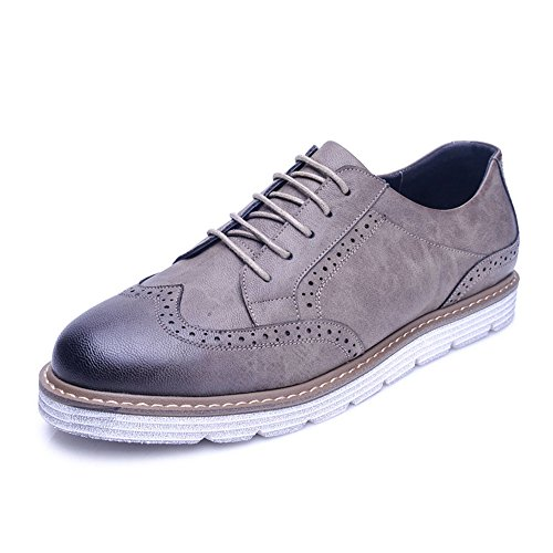 Men's Shoes Feifei Spring and Autumn Thick Bottom Retro Leisure Leather Shoes 2 Colours (Color : Gray, Size : EU39/UK6.5/CN40)