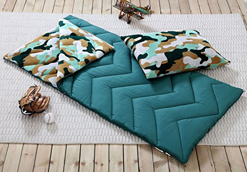 Sleeping Bag and Pillow Cover, Green Brown Camo Indoor Outdoor Camping Youth Kids Boys