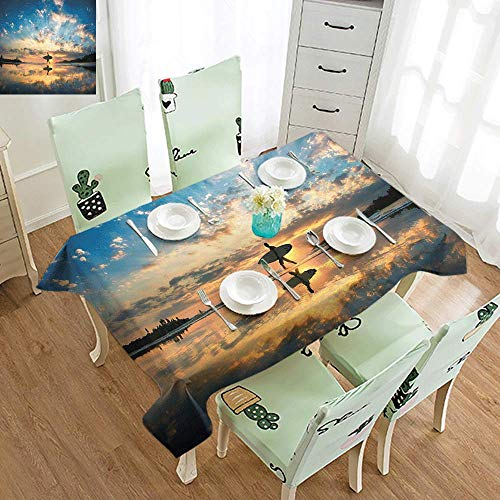 DILITECK Polyester Tablecloth Ride The Wave Surfer Walking Before Horizon with Cloudy Sky Coastal Charm Image Easy to Clean W60 xL84 Violet Blue Sepia
