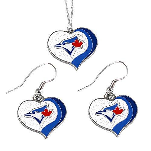 (aminco Toronto Blue Jays MLB Sports Team Logo Charm Gift Glitter Heart Necklace and Earring Set)