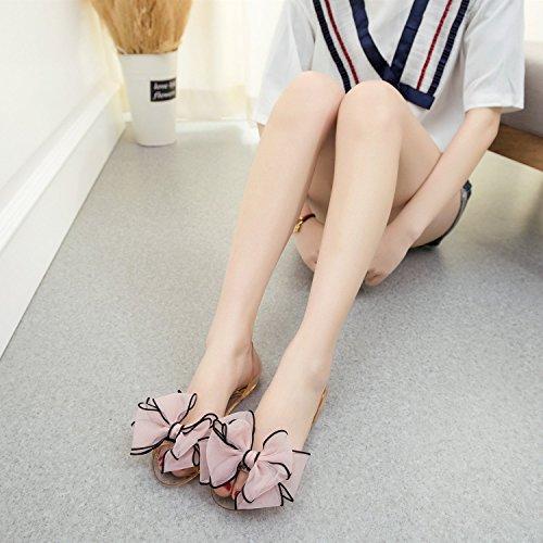 Women De Bowknot Mineroad Toe Summer Vacances Gelée Sandales Chaussures Pink Plage Femme Open Flat Sandals vPqx4w5P