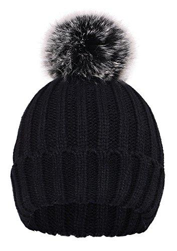 D Diana Dickson Cute Fluffy Fur Pompom Knit Winter Beanie Hat,Black