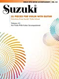21 Pieces for Violin with Guitar: Selections from Suzuki Violin School Volumes 1, 2 and 3 for Violin with Guitar Accompaniment