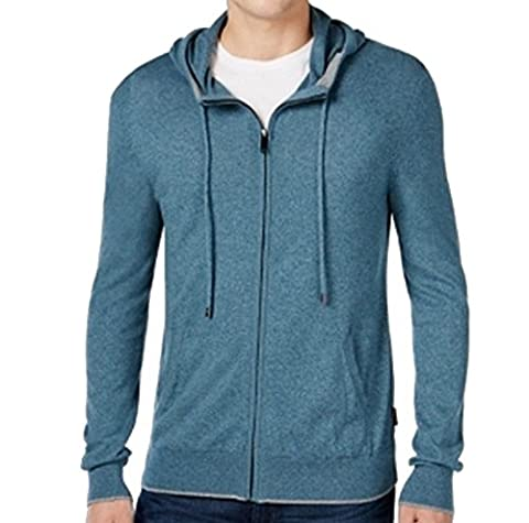 Michael Kors Mens Medium Marled Hooded Full Zip Sweater Blue M - Michael Kors Zip Cardigan