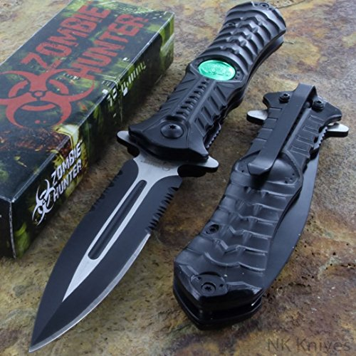Zombie Hunter Black Assisted Toxic Green Biohazard Dagger Blade Knife (Black)