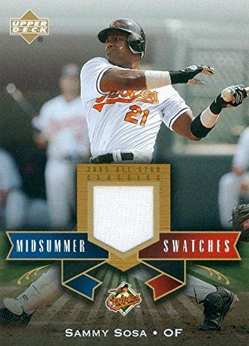 (Sammy Sosa player worn jersey patch baseball card (Baltimore Orioles) 2005 Upper Deck All Star #MS-SS)