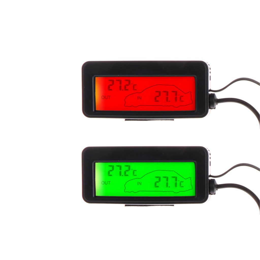 rojo pantalla LCD, para interiores y exteriores, 12 V, 1,5 m de cable, sensor Mini term/ómetro digital para coche Eliky