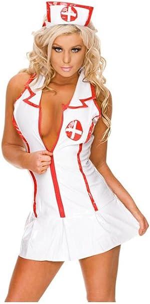 Las Mujeres Blancas sin Mangas Sexy Disfraz de Enfermera: Amazon ...