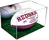 Deluxe Acrylic Collectible Football Display Case with Green Turf Bottom with UV Protection with Mirror (A018)