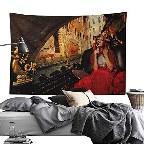 (MaureenAustin Decor Tapestry,Venice,Young Woman with a Red Cloak and Carnival Mask Riding on Antique Gondola, Red Black Pale Brown Light-Weight Polyester Fabric Wall Decor60)
