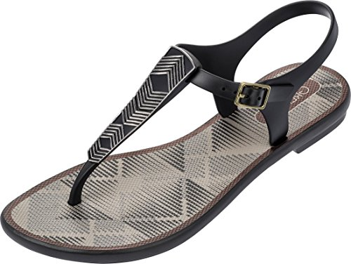 Plastic Post Schwarz Grendha Buckle Bronze Toe Women's Sandal Romantic E8Iqw8nr