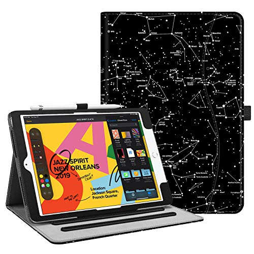"""Fintie Case for New iPad 7th Generation 10.2 Inch 2019 - [Corner Protection] Multi-Angle Viewing Folio Smart Stand Back Cover with Pocket, Pencil Holder, Auto Wake/Sleep for iPad 10.2"""", Constellation"""