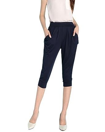 Minetom Pantacourt Femme Pantalons Courts 3 4 Sarouel Legging Casual Eté Confortable  Taille Haute Short a2ba00dae6e7