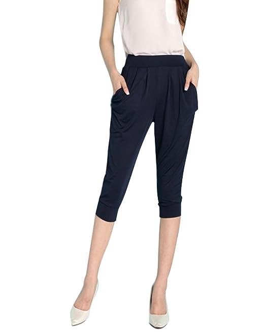 67cb44b26a0fb4 Minetom Donna Casual Estate Pantaloni Capri Bermuda Eleganti 3/4 Breve Vita  Elastica Harem Pants Leggings Plus Dimensioni Sport Palestra Yoga:  Amazon.it: ...