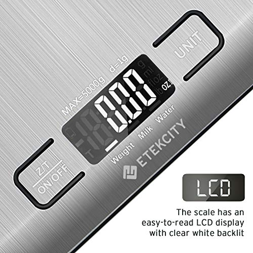 Etekcity Food Digital Kitchen Scale Weight Grams and Oz for Baking and Cooking 067357 in Stainless