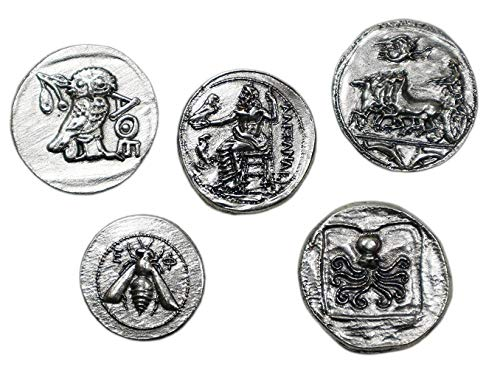 Silver Plated Ancient Greek Coins - Reproduction Tetradrachm - 5 Pieces Set