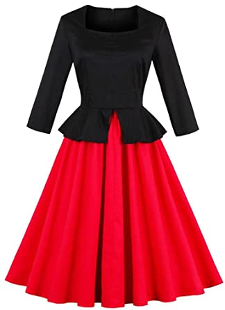1950s Costumes- Poodle Skirts, Grease, Monroe, Pin Up, I Love Lucy 1950s Retro Vintage Hollywood Star Party Large Swing Midi Dress $32.99 AT vintagedancer.com